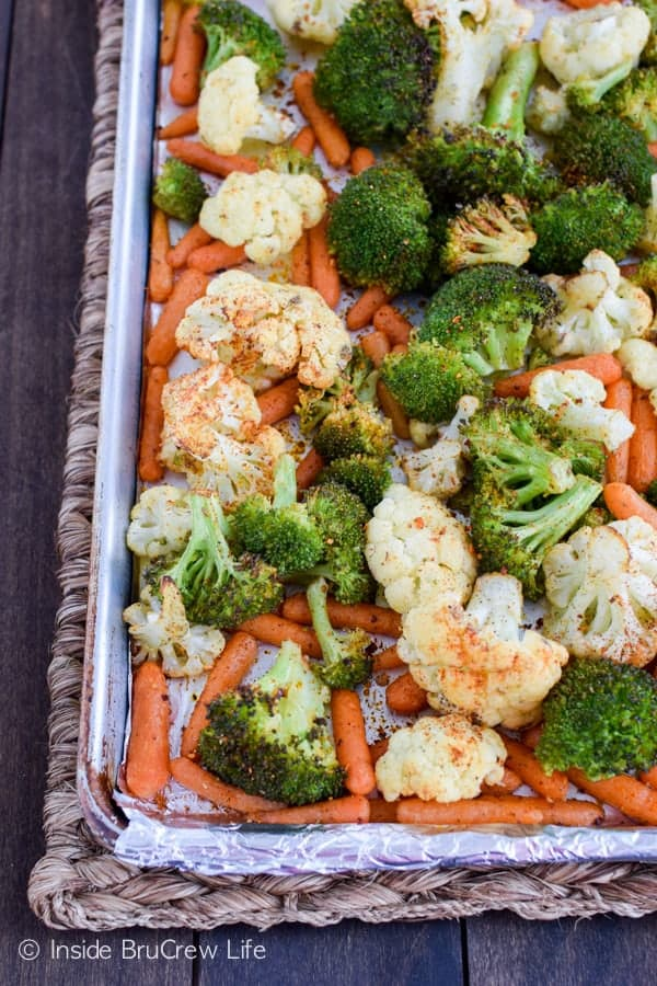 A drizzle of olive oil and seasoning makes these Roasted Veggies a delicious and healthy side to dinner.