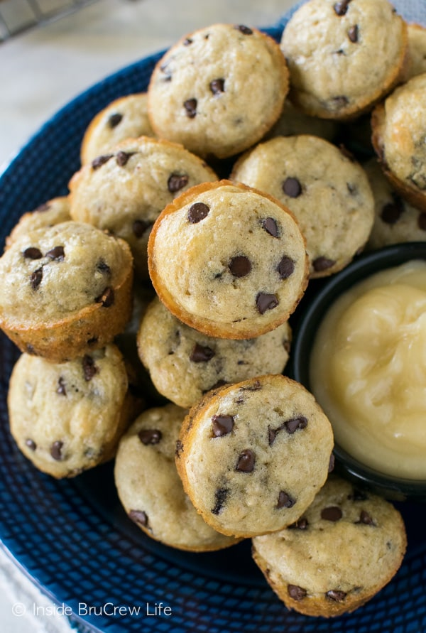 Mini chocolate chip pancake muffins are an easy breakfast to keep on hand in your freezer.