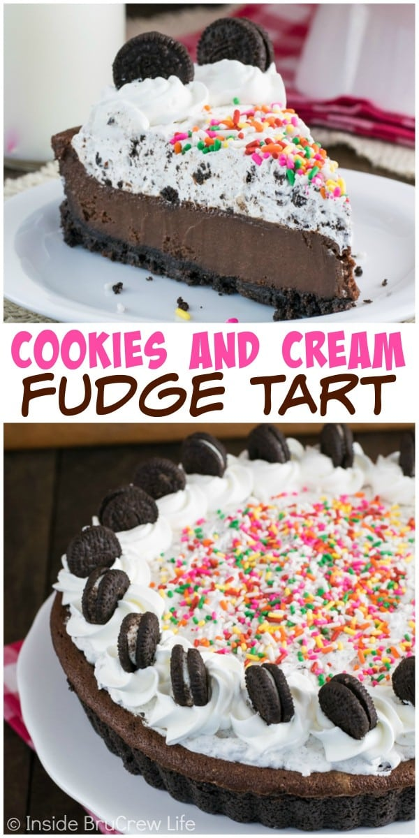 A creamy chocolate fudge center and a cookies and cream filling make this the chocolate dessert you need.