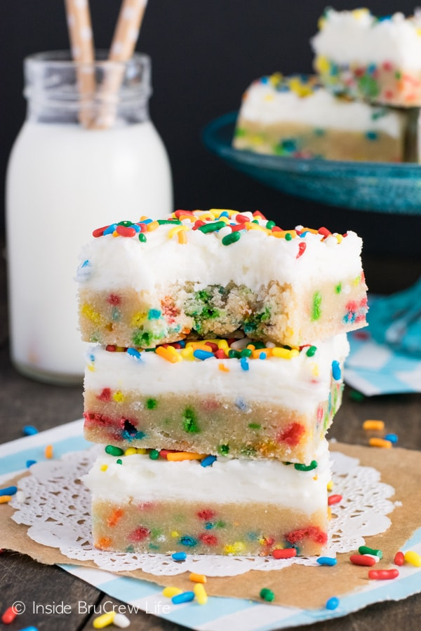 Lots of sprinkles and frosting make these the best cookie bars.