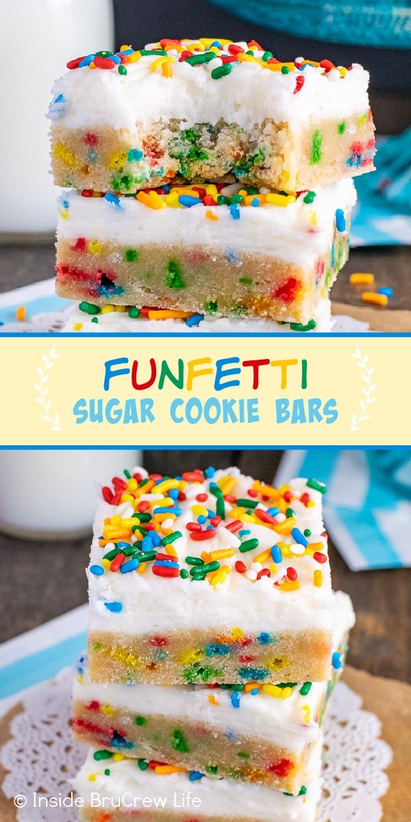Two pictures of Funfetti Sugar Cookie Bars collaged together with a light yellow text box