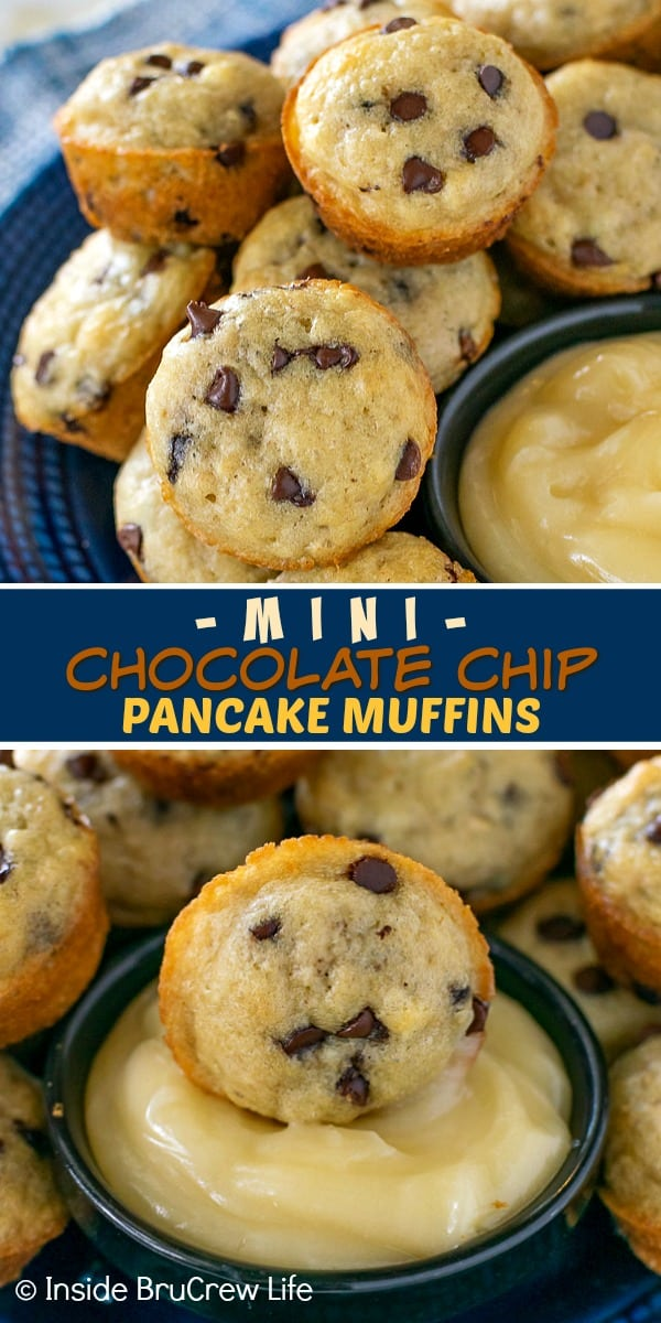 Two pictures of pancake muffins collaged together with a text block