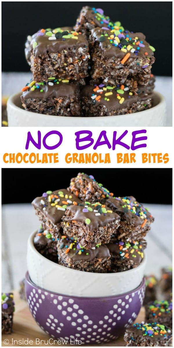 Two pictures of no bake chocolate granola bar bites collaged together with a white text box