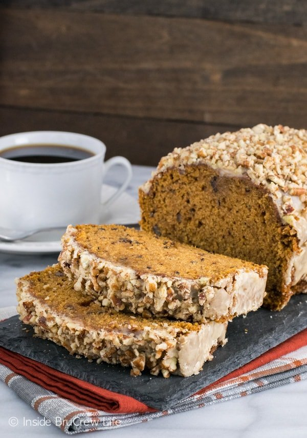 Pumpkin Pecan Bread - a sweet glaze and pecans make this easy pumpkin bread a delicious fall sweet bread. Make this easy recipe for breakfast or snack.
