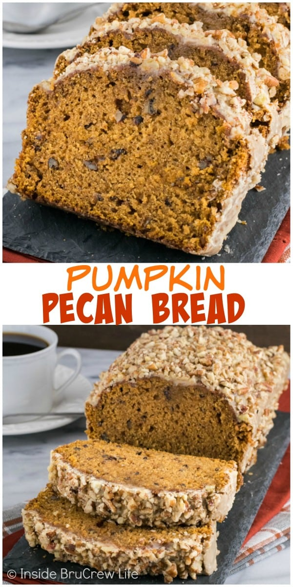 Pumpkin Pecan Bread - this easy pumpkin bread is loaded with pecans and topped with a sweet praline glaze. Make this easy recipe for breakfast or snacks this fall.