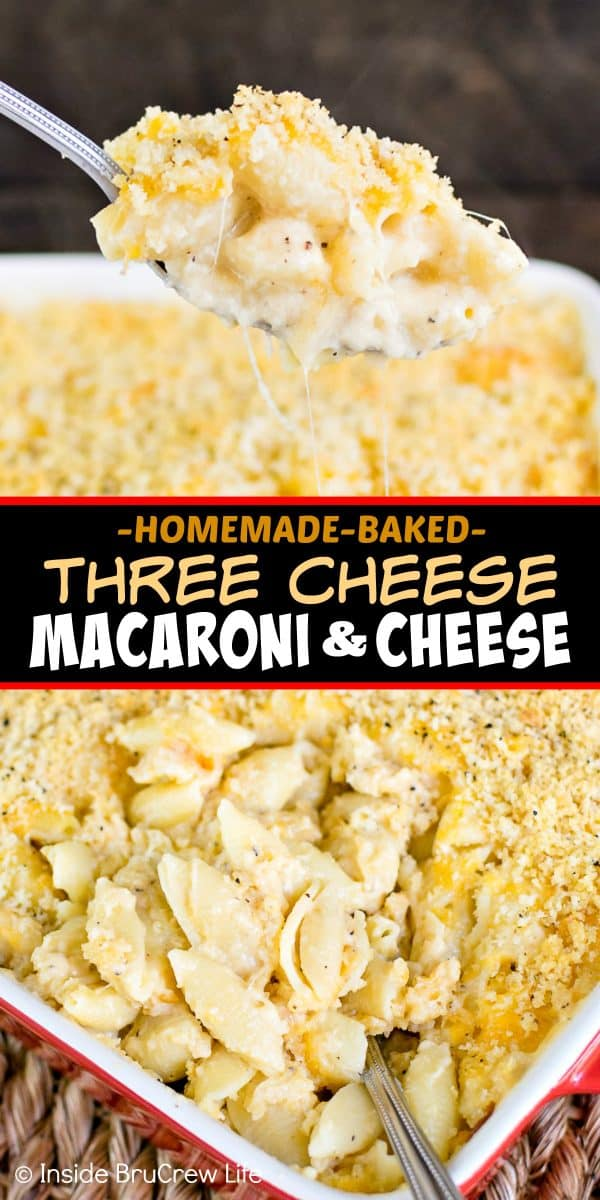 Three Cheese Macaroni and Cheese - homemade baked macaroni and cheese with three kinds of cheese will have everyone asking for seconds at the dinner table. Great recipe to make for busy nights! #dinner #pasta #cheese #macaroniandcheese #easyrecipes