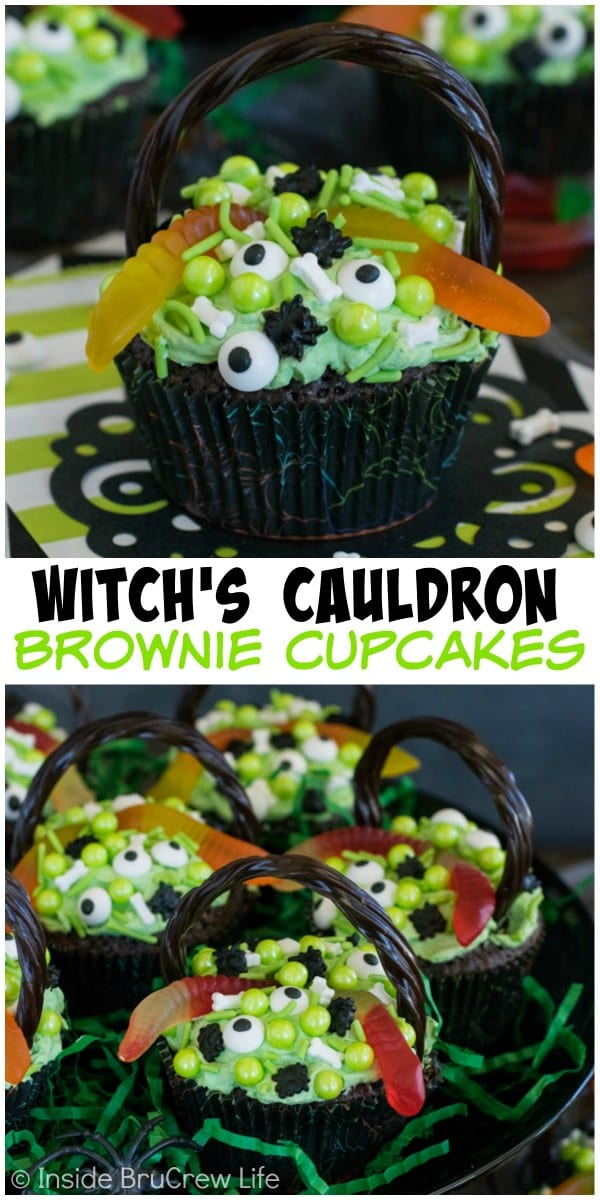 Brownie cupcakes topped with green pudding frosting and spooky sprinkles are the best Halloween cupcakes to share with friends!