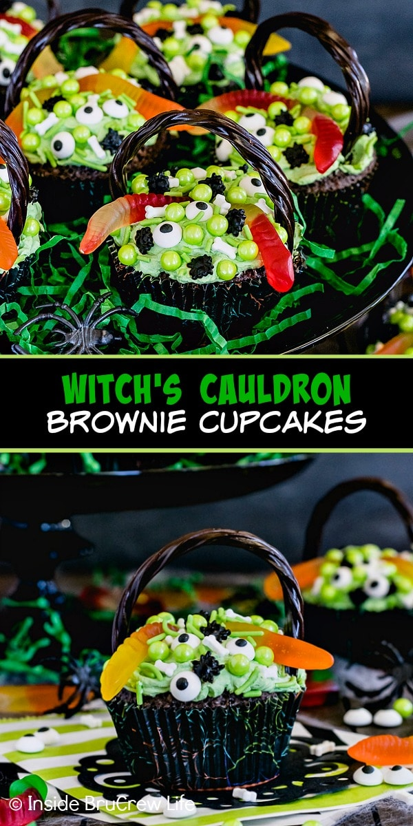 Two pictures of Witch's Cauldron Brownie Cupcakes collaged together with a black text box