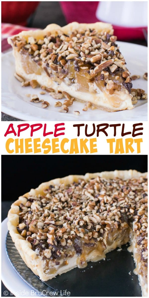Caramel, nuts, and chocolate make this apple cheesecake tart your new favorite dessert.