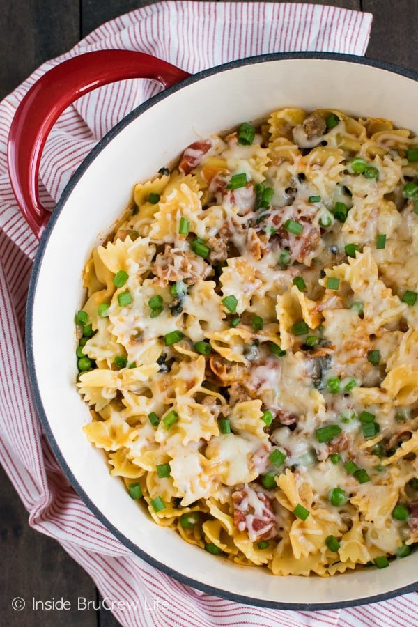 Adding sausage, bacon, and peas makes this cheesy Italian pasta a hit with everyone in the family!