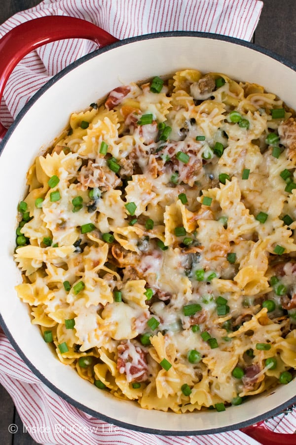 This Cheesy Italian Pasta is loaded with meats and veggies. It's a great meal to make for the family!