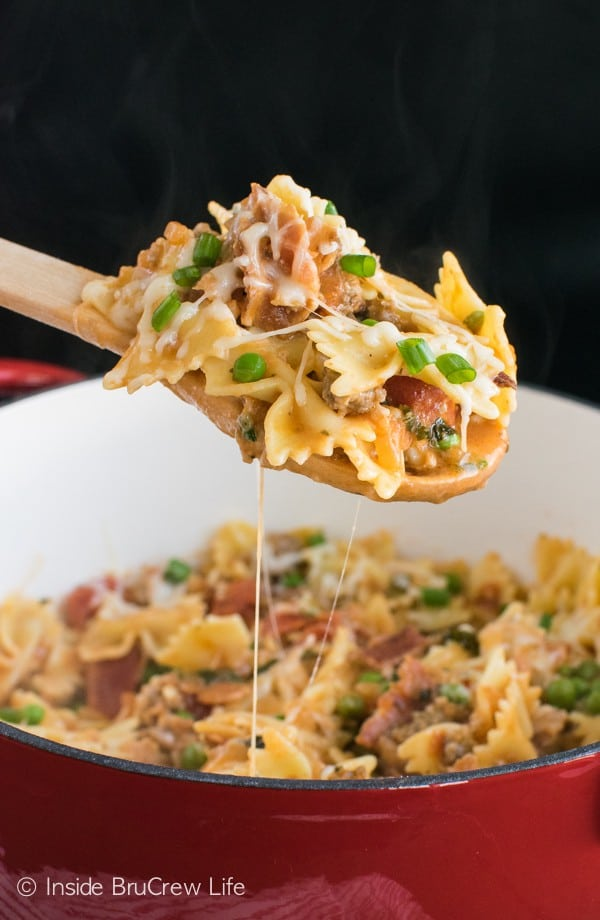 This Cheesy Italian Pasta is loaded with meat, tomatoes, and cheese. It is an easy pasta dinner to enjoy on busy nights.