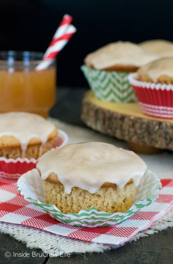 These soft apple muffins have two times the apple cider.  Perfect fall breakfast choice!