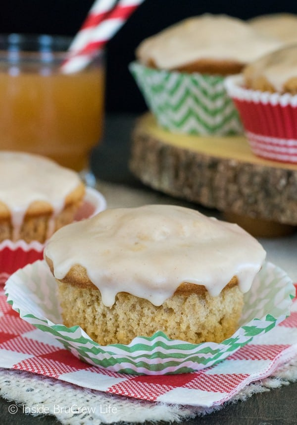 Two times the apple cider makes these an awesome fall breakfast muffin.