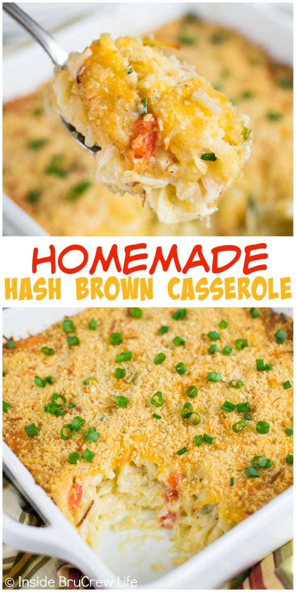 This cheesy hash brown casserole is completely homemade and makes a delicious side dish to any meal.