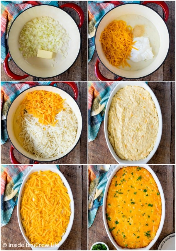 Six pictures collaged together showing the steps to making a cheesy hashbrown casserole recipe