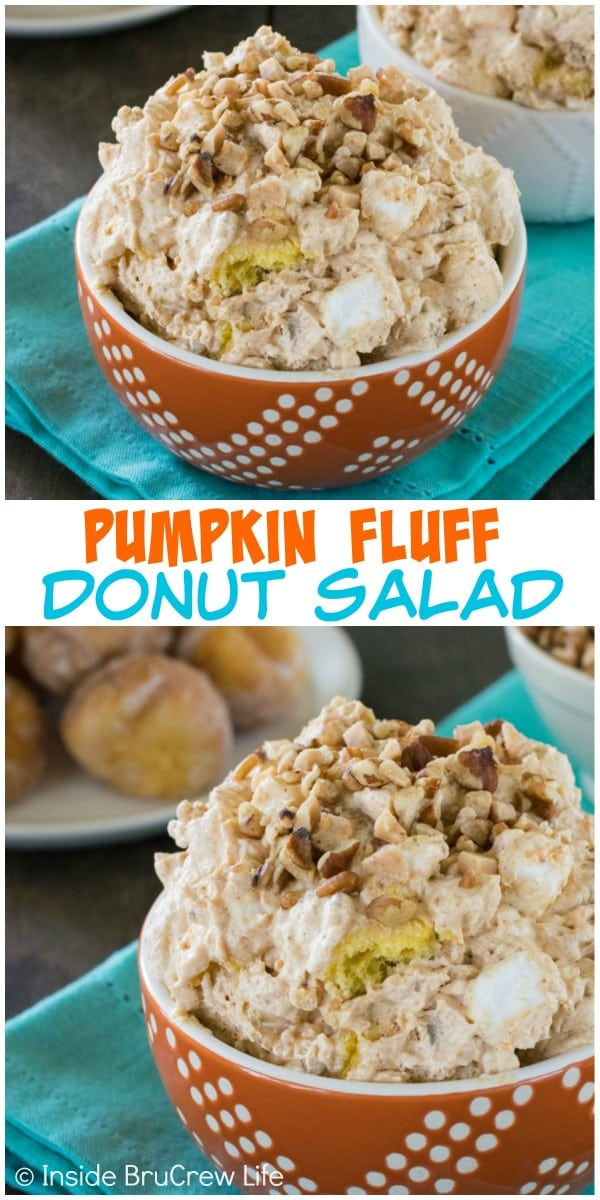 Adding donut holes, nuts, and toffee to pumpkin fluff pudding makes a great holiday dessert!