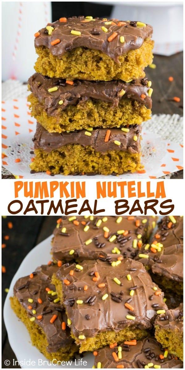 A creamy Nutella glaze makes these easy pumpkin oatmeal bars a delicious dessert choice!