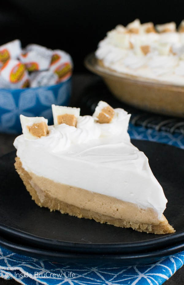 Layers of peanut butter and white chocolate pudding make this no bake pie an awesome dessert!
