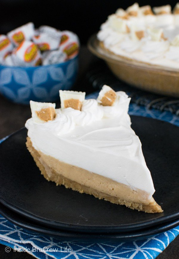 Peanut butter and white chocolate pudding layers make this no bake pie a dessert worth sharing!