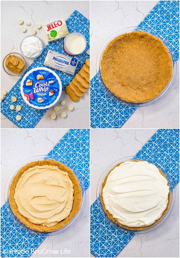 Four pictures collaged together showing how to make the layers of a white chocolate peanut butter pudding pie