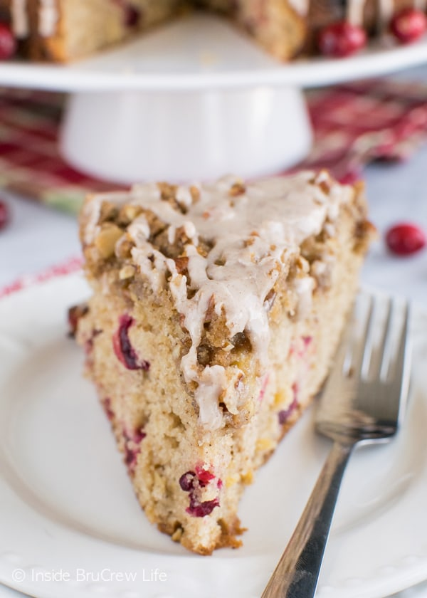 Apples and cranberries work together with crumble and glaze to add texture and flavor to this breakfast coffee cake.