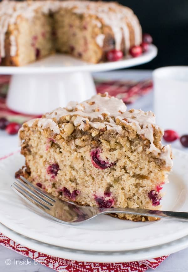 Apple Cranberry Coffee Cake - fresh fruit, crumble, and glaze make this an impressive coffee cake to share at breakfast.