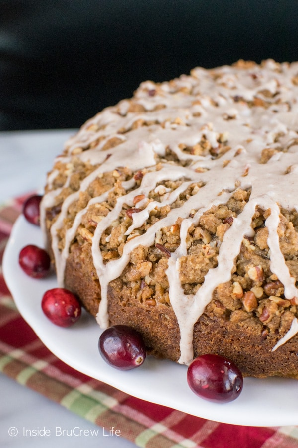 Layers of crumble and spice glaze make this Apple Cranberry Coffee Cake the best breakfast idea.
