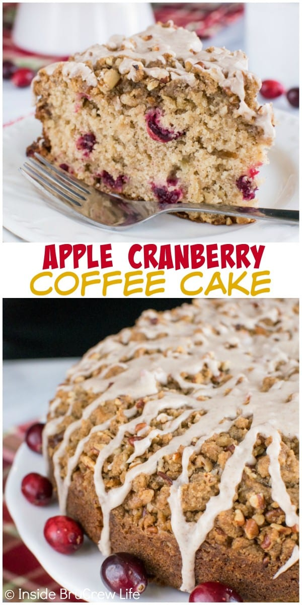 Crumble topping with glaze adds a fun texture to this Apple Cranberry Coffee Cake. It is a great breakfast cake for busy mornings.