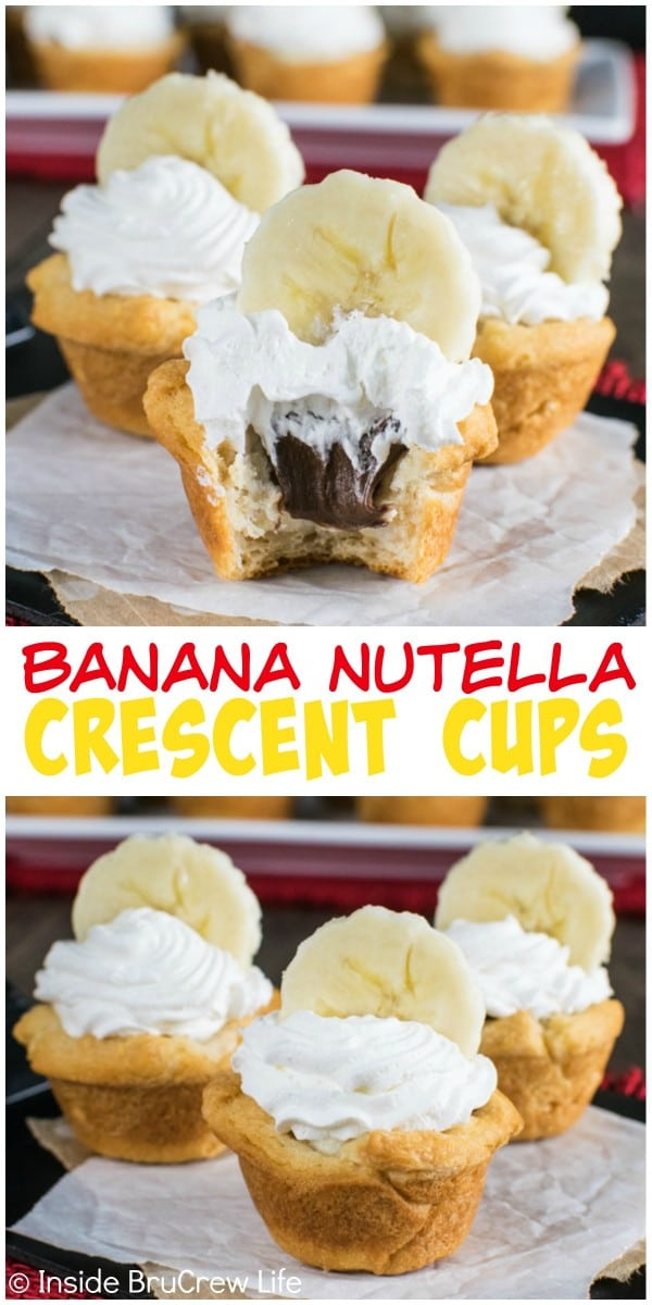 Banana Nutella Crescent Cups - layers of banana cheesecake, Nutella, and fresh banana make these little cups a fun appetizer or dessert.