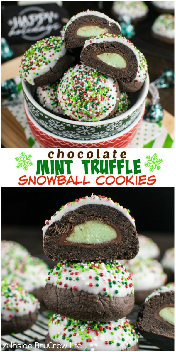Colored sprinkles and white chocolate hide the hidden mint candy surprise in these Chocolate Mint Truffle Snowball Cookies.