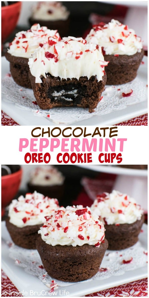 The hidden Oreo cookie center in these fun chocolate cookie cups will get smiles from everyone. Peppermint frosting and pieces give them a sweet holiday flair!