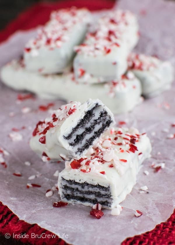 These Chocolate Peppermint Wafers are an easy no bake treat that is perfect for holiday cookie trays!
