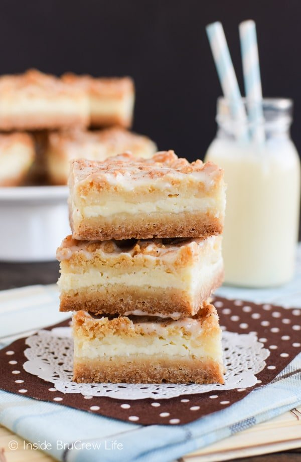 Layers of cake and cheesecake make these Eggnog Cheesecake Crumble Bars a new favorite holiday dessert.