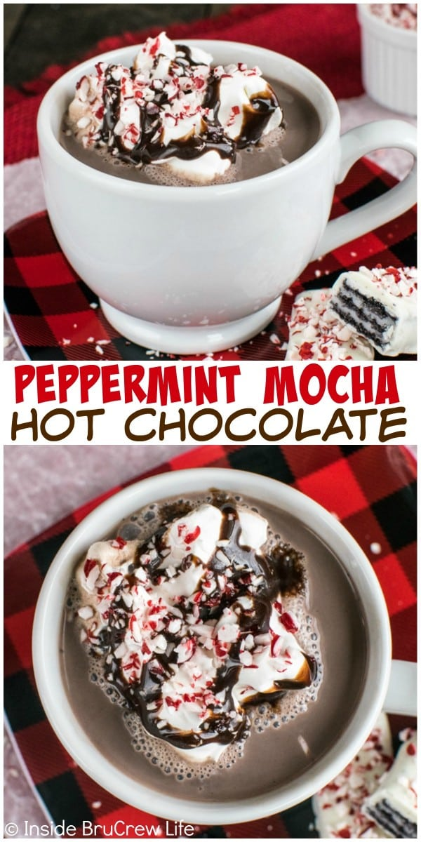 Chocolate, peppermint bits, and coffee make this Peppermint Mocha Hot Chocolate a delicious drink for cold winter days.