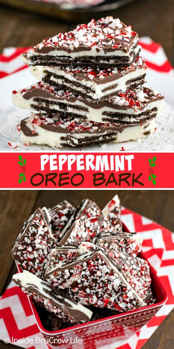 Peppermint Oreo Bark - two kinds of chocolate, Oreo cookies, and peppermint bits are layered together to make an easy chocolate bark. Make this no bake recipe for holiday cookie exchanges! #oreo #peppermint #chocolatebark #nobake #chocolate