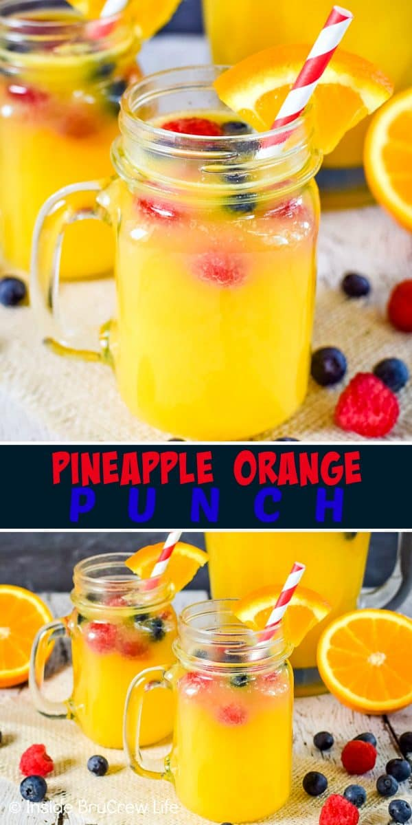 Pineapple Orange Punch - floating fresh fruit in fruit juices and Sprite creates an easy party punch that everyone can enjoy! Try this easy recipe for any type of party! #nonalcoholicpunch #partypunch #fruitjuice #kidfriendlydrinks #punch #recipe