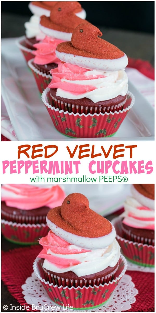Swirls of peppermint frosting and a PEEPS® marshmallow chick make these Red Velvet Cupcakes the perfect holiday party treat!