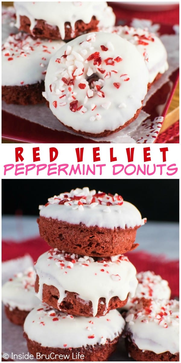 These Red Velvet Peppermint Donuts are easy to make from a cake mix. Adding frosting and peppermint bits makes them a fun holiday breakfast!