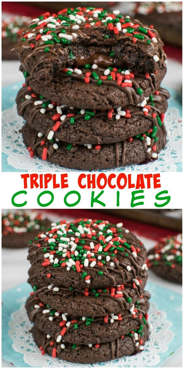 A gooey chocolate center in these Triple Chocolate Cookies is the way to do chocolate cookies. This dessert will not last long at all.