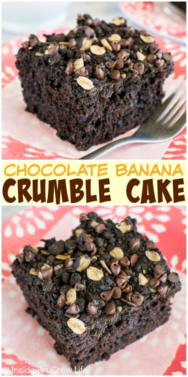 Chocolate crumble, chocolate chips, and bananas give this easy Chocolate Banana Crumble Cake recipe a great way to do breakfast or snack time!