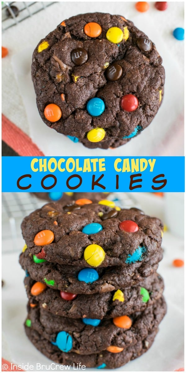 These easy Chocolate Candy Cookies are full of Butterfinger bits and mini M&M's candies. Great dessert recipe!