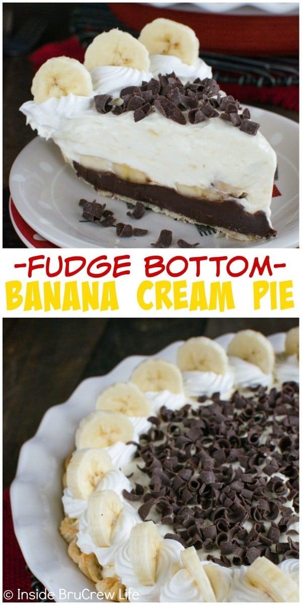 Layers of fudge, bananas, and banana cheesecake pudding makes this Fudge Bottom Banana Cream Pie an amazing dessert. Easy recipe for busy days!