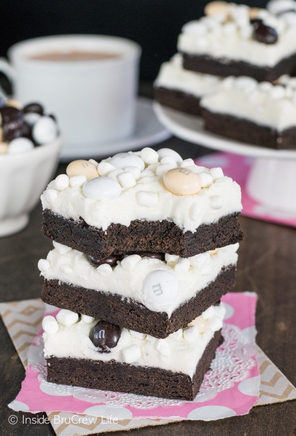 A creamy layer of marshmallow frosting makes these Mocha Hot Chocolate Cookie Bars disappear in a hurry! Easy dessert recipe!