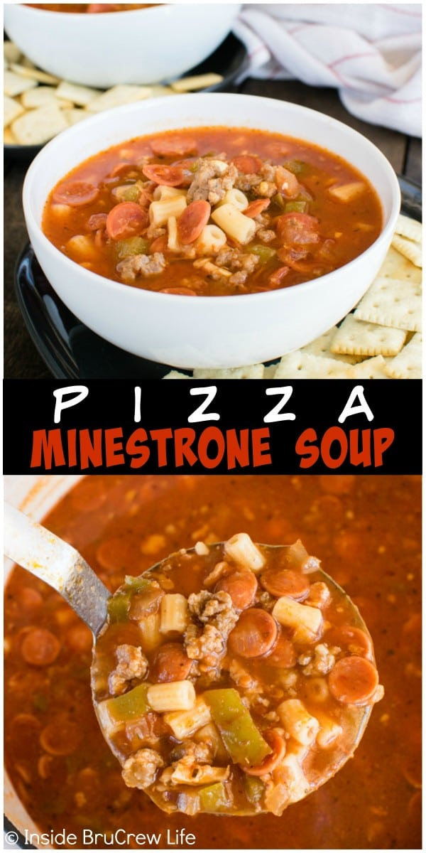 Pizza Minestrone Soup - a one pot soup recipe full of veggies, pasta, and pizza toppings. Great comfort food for cold winter days!