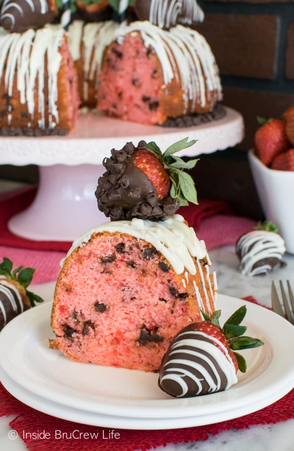 Fresh berries and chocolate chips add a fun flair to this Strawberry Chocolate Chip Bundt Cake. Perfect Valentine's day dessert recipe.
