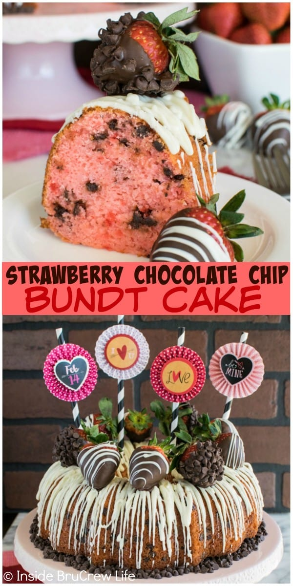 This pretty pink Strawberry Chocolate Chip Bundt Cake is full of chocolate chips. Chocolate covered strawberries add a fun flair to the top. Great Valentine's Day dessert recipe.
