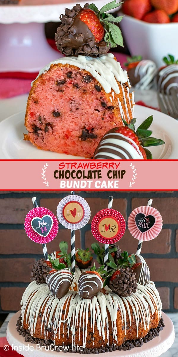 Two pictures of strawberry bundt cake collaged together with a pink text block