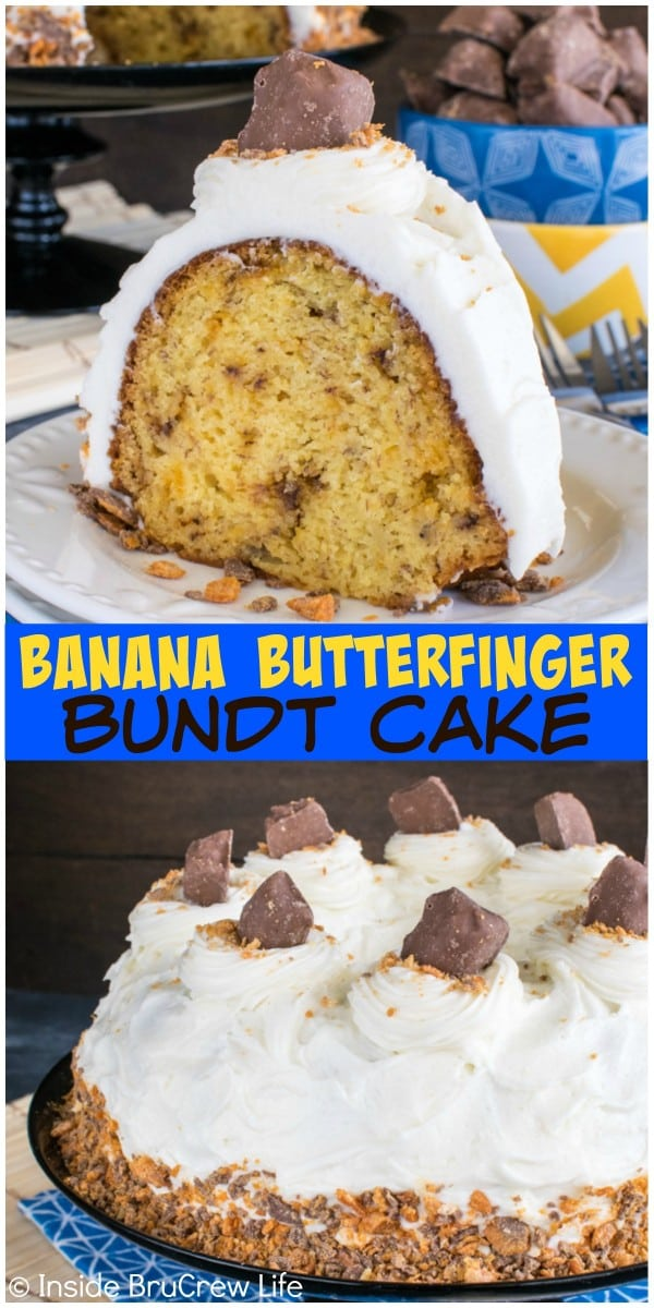Swirls of cream cheese frosting and candy bars give this Banana Butterfinger Bundt Cake a fun twist. Delicious dessert recipe to share with friends.
