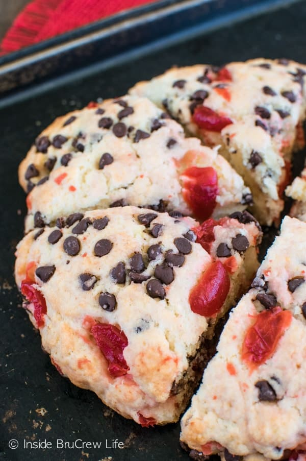 Cherry Chocolate Chip Scones recipe - adding chocolate chips and cherries to these soft scones makes the perfect breakfast treat.